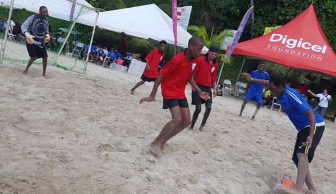 Beach Soccer action at the Special Olympics of Trinidad and Tobago-hosted Seaside Games at Las Cuevas on Sunday.