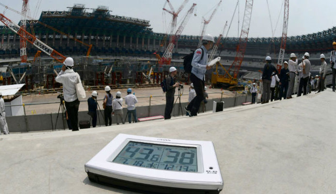This photo taken on July 18, 2018 shows an electronic thermometer showing the temperature exceeding 40 degrees Centigrade (104 F) during a media tour at the construction site for the new National Stadium, venue for the upcoming Tokyo 2020 Olympic Games, in Tokyo. Photo: AFP