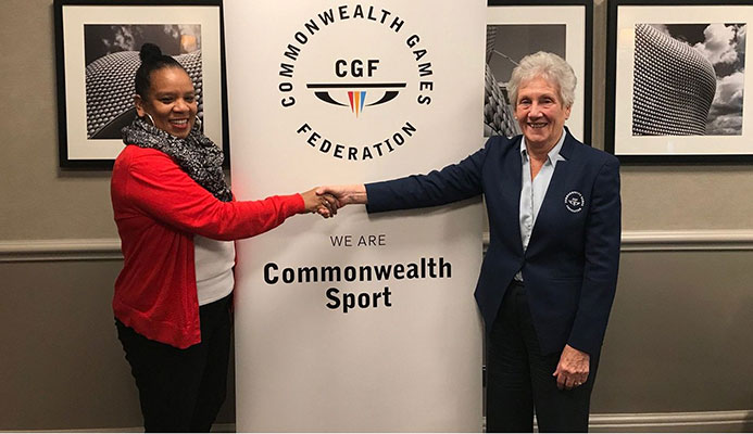 Commonwealth Games Federation President Dame Louise Martin, right,  and T&T Olympic Committee vice-president, Annette Knott.