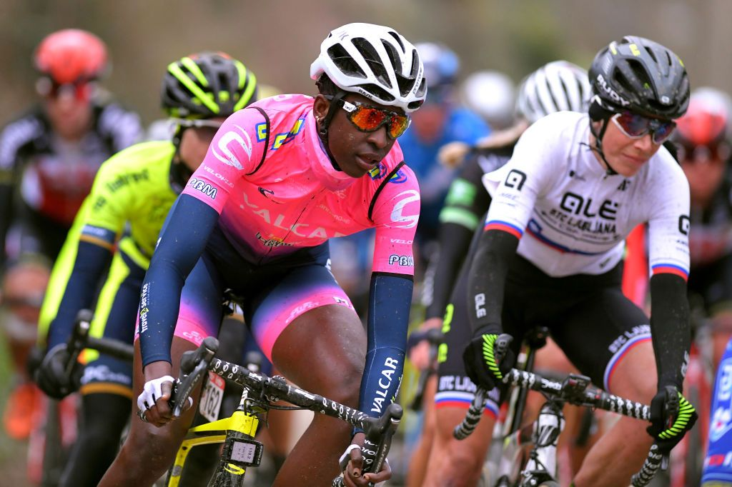 Teniel Campbell of Trinidad and Tobago and Team Valcar-Travel&Service during the 16th Spar Omloop Van Het Hageland 2020 Women Elite – a 130km race from Tienen to TieltWinge (Image credit: Getty Images)